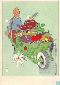 Carte postale - Tintin - Kuifje met Kruiwagen