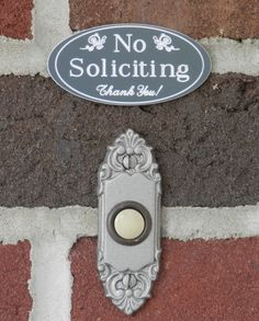 """1.5"""" x 3"""" No Soliciting Sign / Engraved """"No Soliciting Thank You"""" Outdoor Sign / No Soliciting Home, Business, Door Sign - FREE SHIPPING"""