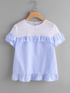 SheIn offers Contrast Eyelet Embroidered Yoke Frilled Top & more to fit your fashionable needs. Kids Dress Collection, Baby Dress Design, Batik Fashion, Frill Tops, Latest African Fashion Dresses, Whimsical Fashion, Crop Top Outfits, Stylish Tops, Modern Outfits