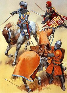 """French cavalry, 1337-1360""  • The Dauphin Charles, c. 1356 • Knight from the Dauphine, c. 1350 • Souther French aquire, c. 1340"