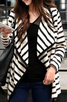 Long sleeve striped knit cardigan by SheIn. Go get outside and be you!