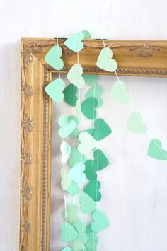 Sweetheart paper garland - 10 feet (3 metres) Ombre Mint green Emerald, engagement wedding party home decor