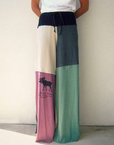 NEW...Recycled T Shirt Pants / Wide Leg / Palazzo Style / M / by ohzie