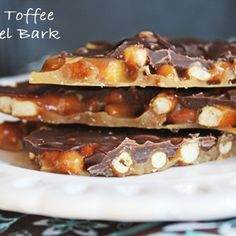Easy Toffee Pretzel Bark  8 ounces mini pretzels (enough to spread out onto a large baking sheet) 1 C butter 1 C brown sugar, packed 2 C semi sweet chocolate chips sea salt (optional…I didn't end up using it. The pretzels had enough salt for me.)