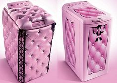 This is crazy insane, but these are plush pink washing machines. They only made a certain number of these to sell. Wow. I want one!!