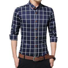 e1bc56d9003 Men s Dress Shirts 2016 New Spring Fashion Slim Fit Long Sleeve Male Plaid  Cotton Casual Social Shirts Plus Size 5XL N346. Stylish ShirtsCasual Shirts Shirt ...