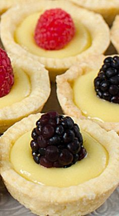 Lemon Tartlets with Lemon Curd - Pretty lemon tartlets with the best lemon curd you've ever had! Definitely a crowd pleaser as an appetizer or dessert at your next party! ❊ Meyer Lemon Tartlets with Lemon Curd for Bite Sized Desserts Desserts For A Crowd, Bite Size Desserts, Lemon Desserts, Lemon Recipes, Tart Recipes, Mini Desserts, Just Desserts, Baking Recipes, Sweet Recipes