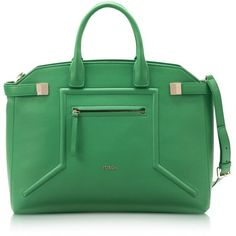 Furla Alice Emerald Green Leather Tote ($798) ❤ liked on Polyvore featuring bags, handbags, tote bags, green leather purse, green leather tote, zip top tote bag, leather tote bags and emerald green handbag