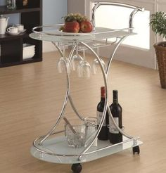 Serving Cart Chrome Dining Tea Bar Rolling Glass Rack Beverage Wine Tray Snack | eBay