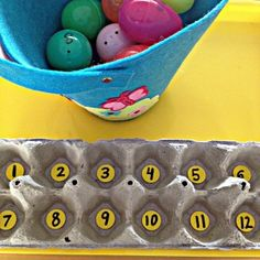 Counting Activity with Plastic Easter Eggs - Spark and Pook The Ultimate Pinterest Party, Week 43