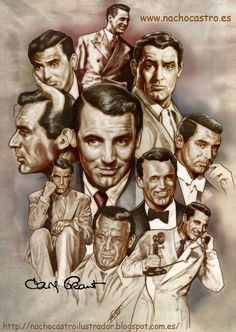 "Cary Grant,illustration from the book ""Hombres de Hollywood"".Nacho Castro.Diábolo ediciones"
