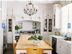 stove, kitchen idea, chandeliers, cabinet, high ceilings, subway tiles, hood, dream kitchens, white kitchens