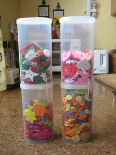 The plastic containers that Crystal Light drink mix packets come in are perfect for craft storage, for buttons, beads or whatever small items you have. They're see-through, stackable and have tight-fitting lids.