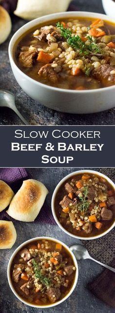 Slow Cooker Huhn, Crock Pot Slow Cooker, Slow Cooker Recipes, Cooking Recipes, Healthy Recipes, Slow Cooking, Vegetable Beef Barley Soup, Crockpot Beef Barley Soup, Chicken Barley Soup