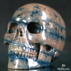 ✿ Dumortierite Carved Crystal Skull ✿