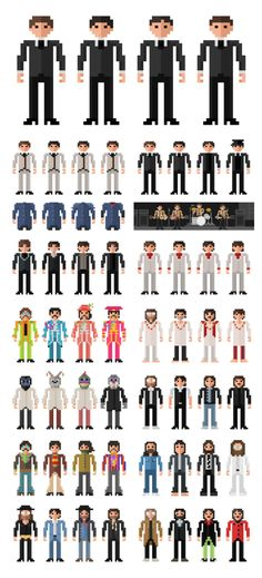 The Beatles Through The Years pixel art