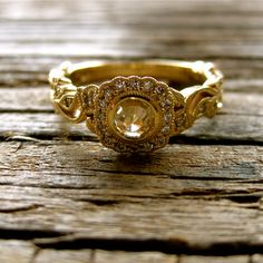Rose Cut Brown Diamond Engagement Ring in 14K by SlowackJewelry