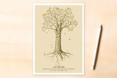 Carved Tree Save the Date Cards by pottsdesign at minted.com