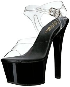 3cabdaf9208a2 Pleaser Womens Asp608CB Platform Sandal ClrBlack 7 M US     Details can be  found