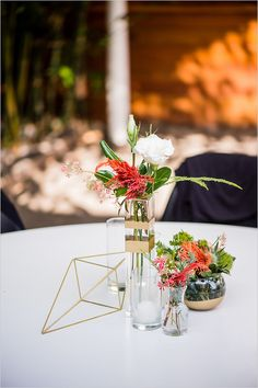 Geometric wedding theme and details is one of the hottest trends of last and this year; we've already told you of geometric wedding cakes, and now it's time to discuss décor and other touches. A geometric wedding backdrop. Terrarium Centerpiece, Party Centerpieces, Floral Centerpieces, Flower Arrangements, Wedding Decorations, Table Decorations, Pink And Gold Wedding, Floral Wedding, Wedding Flowers