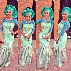 Blue Lace and Ankara Fabric mixed 3/4 sleeveless dress with a Green Gele