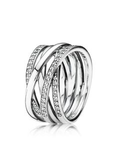 PANDORA Sterling Silver & Cubic Zirconia Entwined Ring