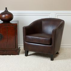Allegro Brown Leather Club Chair transitional-armchairs-and-accent-chairs