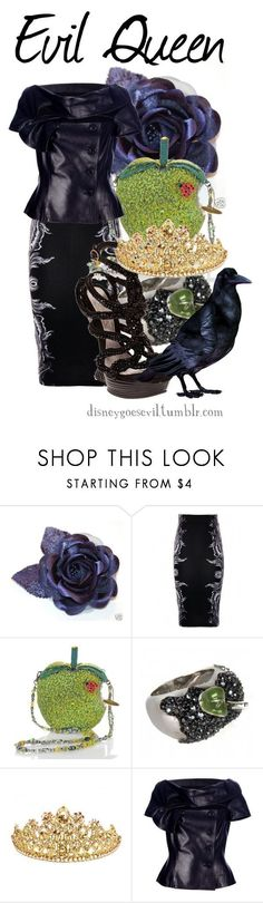 """""""Evil Queen"""" by disney-villains ❤ liked on Polyvore featuring Isabel de Pedro, Mary Frances Accessories, Disney Couture, Alexander McQueen, Swarovski and Christian Dior #alexandermcqueencouture"""