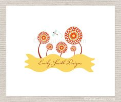 Premade Logo Design OOAK  Sunflowers Dragonfly By by ReaniDesigns, $95.00