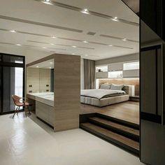 Ambiente moderno y #minimalista con juego de niveles y contraste de tonos y…