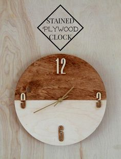 wall clock decor living room 777433954413842105 - DIY Clocks – Stained Plywood Clock – Easy and Cheap Home Decor Ideas and Crafts for Wall Clock – Cool Bedroom and Living Room Decor, Farmhouse and Modern Source by woodworkhm
