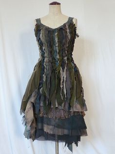 Top and Skirt Post Apocalyptic Costume Fairy Pixie Woodland Tribal Seaweed Army Green Distressed Tattered Dress Event Party (Custom order)