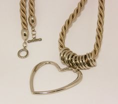 Long Necklace. Nautical Braided Ecru and Silver Necklace with by designsbyaa, $17.00