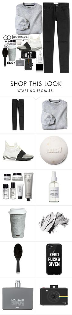 """""""Edgy."""" by the-abby ❤ liked on Polyvore featuring Current/Elliott, Kendall + Kylie, Bobbi Brown Cosmetics, French Girl, Fitz & Floyd, GHD, Casetify, Comme des Garçons and Polaroid"""