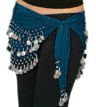 128-Coin Wave Pattern Chiffon Belly Dance Hip Scarf - TEAL BLUE / SILVER
