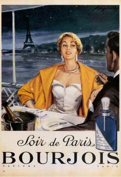 This is a high quality fine art giclee print of a vintage French advertising art poster for purfume in Paris, France, circa 1950. This very hard to find piece features a couple dining at a very chic restaurant with a beautiful view of the Paris night.