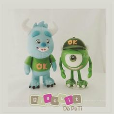 Mike y sully Disney Pixar, Biscuit, Monster University, Monsters Inc, Sully, Yoshi, Luigi, Minions, Polymer Clay