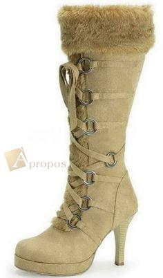 Stiefel Damen 7,5cm Samt Fell Schwarz Braun Camel High Heel Apropos