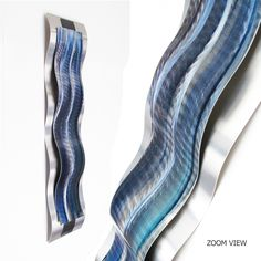 """2017 Valentines Day Special Edition Blue metal wall sculpture """"Rhythmic Curves"""" Brian Jones"""