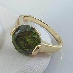 Ladies Olive Peridot CZ 18K Yellow Gold Overlay Ring~Size 5 1/2-Free Gift Box