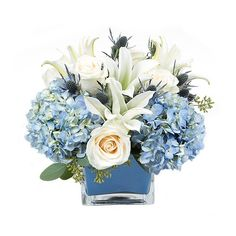 PlantShed.com | Azure | Flower Delivery NYC | Creamy white and peach roses paired with white lilies and blue hydrangea.