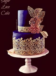 Sugar Lace Engagement Cake - I Sugar Coat It