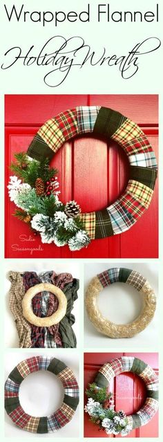 Create a cozy, inviting holiday wreath this Christmas season by repurposing / upcycling flannel shirts from the thrift store! A mixed plaid wreath looks warm and pretty on your door and is super easy to make. This would be a great memorial wreath, too, by using shirts from a loved one. Fun thrift store makeover DIY craft project for the winter holidays by #SadieSeasongoods / http://www.sadieseasongoods.com