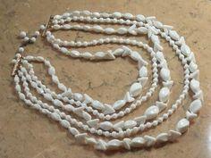 Five strand white bridal vintage beaded necklace | vintage wedding jewellery | Jewels & Finery UK