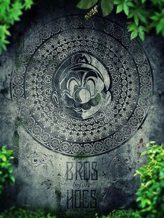 Super Mario Memorial Stone - Bros Before Hoes Art Print by Barret Biggers