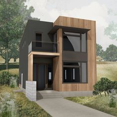 modern house front design :) you will surely loved it. Container Home Designs, Minimalist House Design, Modern House Design, Casas Containers, Small Modern Home, Small Modern House Exterior, House Front Design, Small House Plans, Micro House Plans