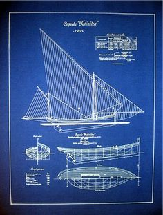 "Vintage Sailboat Yacht 1905 Blueprint Plan Drawing 18"" x 24"" 011 