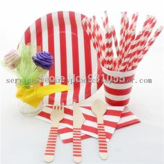 Find More Event & Party Supplies Information about Free Shipping Wholesale Red Striped Paper Straw Paper Plate Paper Cup Paper Napkin Wooden Cutlery,High Quality Event & Party Supplies from Fairy Tales on Aliexpress.com