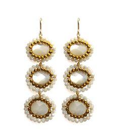 <b>Nova Earrings</b> Gold/Mother of Pearl  E2094