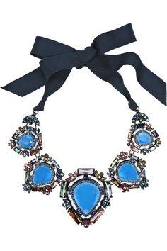 Lanvin                               Santa Barbara gunmetal-tone crystal necklace